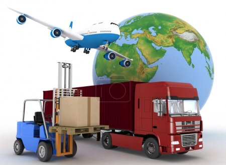 Photo for Airliner with a globe and auto loader with boxes. 3d image on a white background - Royalty Free Image