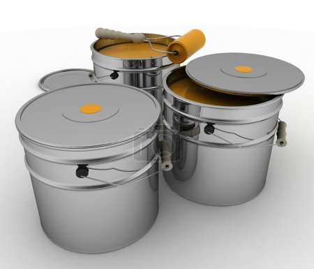 Buckets with orange paint and roller