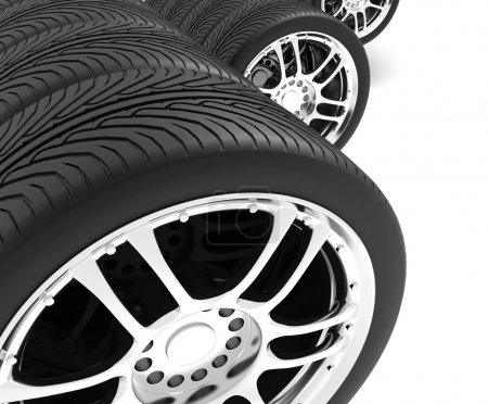 Close-up of automobile wheels. 3D render Illustration