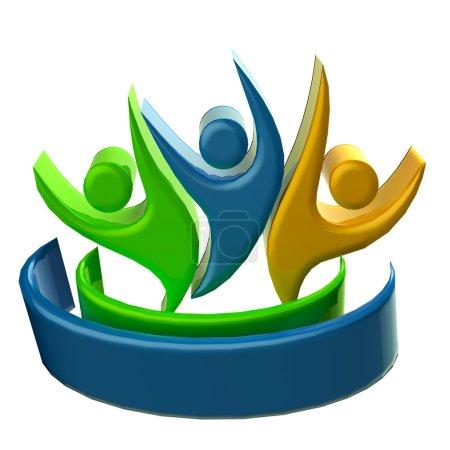 Photo pour Logo travail d'équipe 3D personnes icône image - image libre de droit