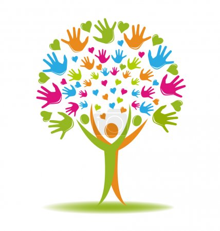 Tree people hands logo