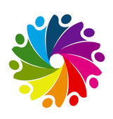 Logo teamwork business socialhappiness people or unity children concept