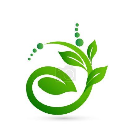 Illustration pour Signification saine dans une icône vectorielle de logo de forme végétale - image libre de droit