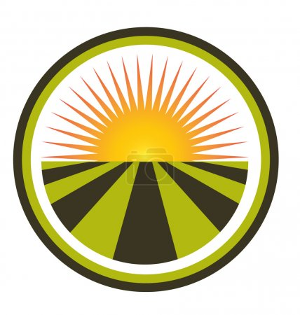 Illustration for Sun agriculture landscape and farm harvest label icon - Royalty Free Image