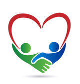 Heart and handshake business people logo vector icon