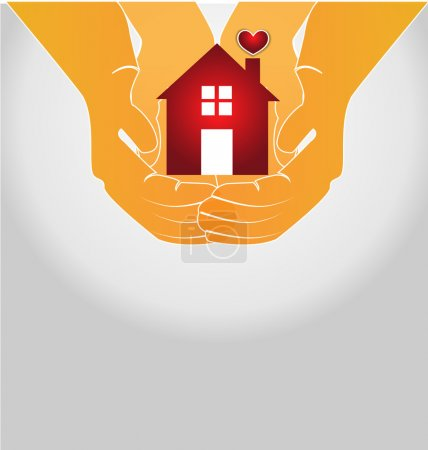 Illustration for House on couple hands logo vector icon image - Royalty Free Image