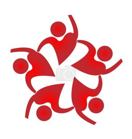 Illustration pour Travail d'équipe gens forme de coeur logo conception web icône vectorielle - image libre de droit