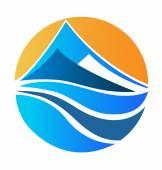 Mountains beach and sun logo