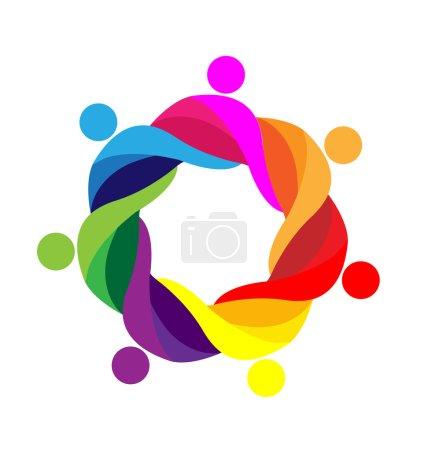 Illustration pour Travail d'équipe autour des personnes logo icône conception modèle vecteur - image libre de droit
