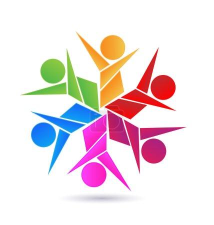 Illustration pour Travail d'équipe abstrait personnes icône conception modèle vectoriel logo - image libre de droit