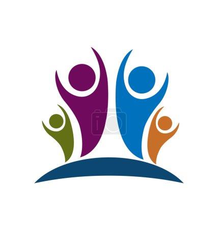 Illustration pour Les gens de famille dans l'image vectorielle d'humeur optimiste icône - image libre de droit
