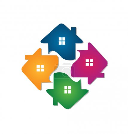 Illustration for Logo houses team icon identity card for real estate business - Royalty Free Image