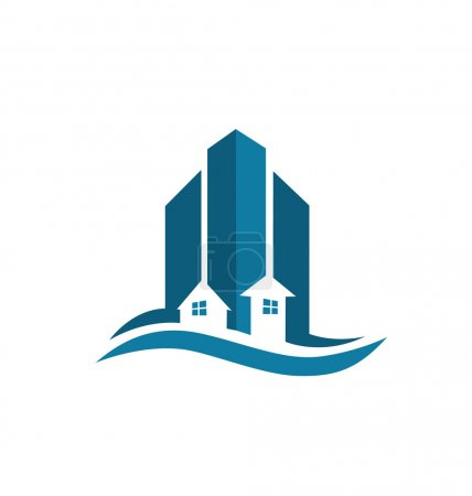 Illustration for Modern buildings real estate logo vector - Royalty Free Image