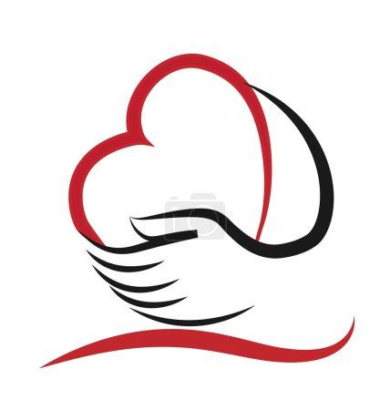 Illustration pour Logo Coeur et main Concept d'amour aider et de charité - image libre de droit