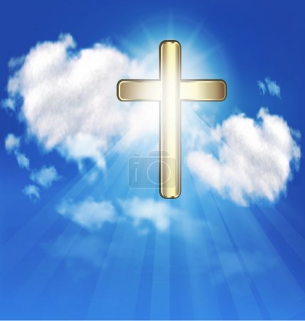 Golden cross crucifix symbol of Christian faith blue skyvector background