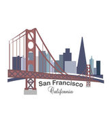 California skyline buildings with golden gate bridge icon vector template