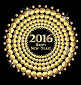 Happy New Year 2016 vector gold balls design background