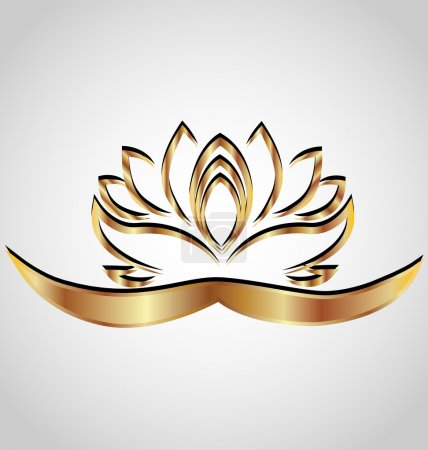 Illustration for Gold stylized lotus flower logo vector image - Royalty Free Image