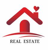 Real estate red house heart love logo