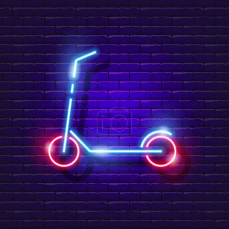 Illustration for Scooter neon icon. Vector illustration for design. Sports concept. Cycling sign, ecological transport, electric scooter, city transport - Royalty Free Image