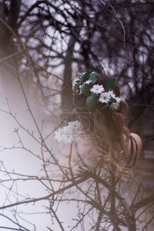 girl backs double exposure flowers