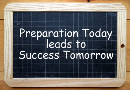 Photo for The phrase Preparation Today leads to Success Tomorrow in white text on a slate blackboard - Royalty Free Image