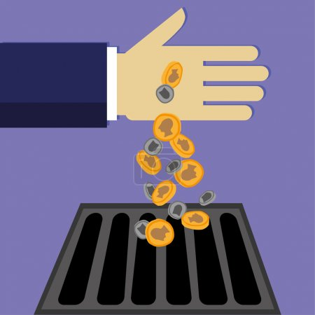 Illustration for Businessman hand pouring money down the drain in the form of gold and silver coins - Royalty Free Image