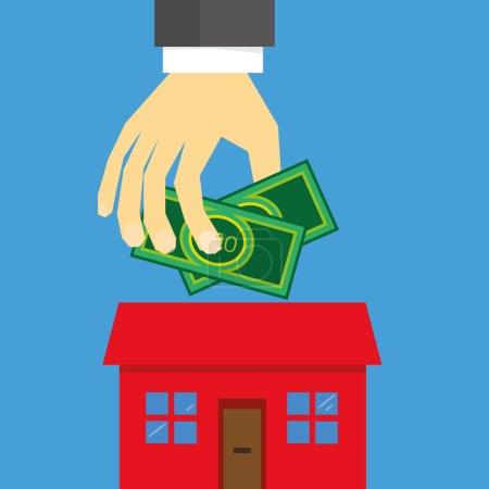 Illustration pour Une main tenant de l'argent au-dessus d'une maison stylisée comme concept d'investissement immobilier ou de sécurisation d'une hypothèque - image libre de droit