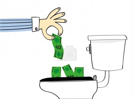 Illustration for Concept for losing or wasting money with a hand dropping dollar bills down a conventional toilet to be flushed away - Royalty Free Image