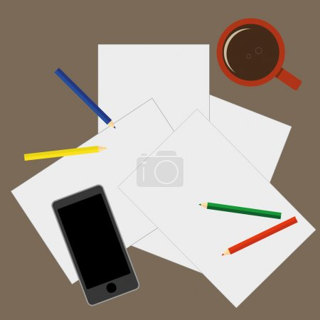 Illustration for View from above of a desktop with blank sheets of paper, pencils a mobile phone and a cup of coffee as preparation for paperwork or sketching - Royalty Free Image