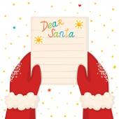Christmas illustration with hands holding a letter from a child vector