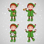 Stickers with Christmas Elf set vector
