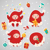 Stickers with Christmas Elves set vector