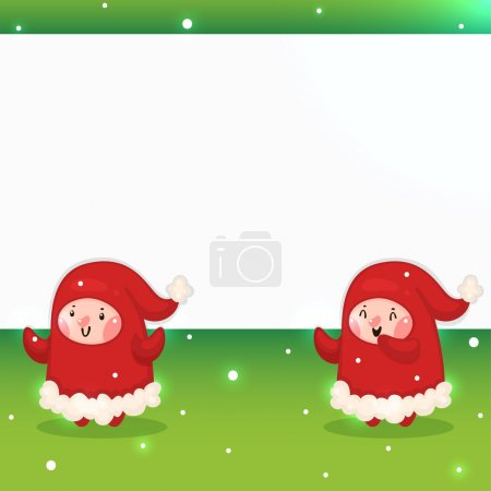 Christmas Elves and blank banner, vector.