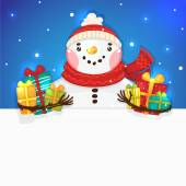 Cute Snowman with gifts and blank horizontal banner vector