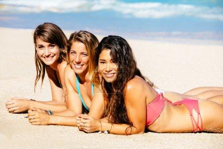 Girls Enjoying Sunny Day at the Beach