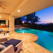 Beautiful Luxury Home with Swimming Pool at Sunset...