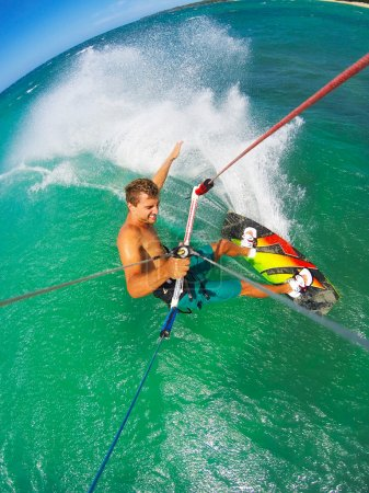 Photo for Kite Boarding. Fun in the ocean, Extreme Sport. POV View from Action Camera. - Royalty Free Image