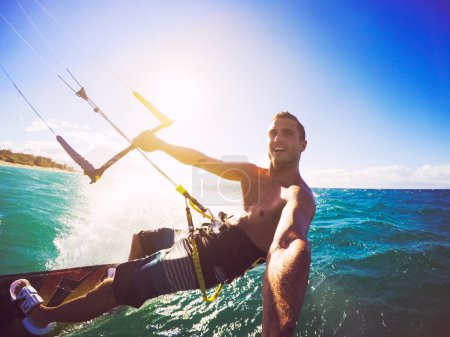 Photo for Kiteboarding. Fun in the ocean, Extreme Sport Kitesurfing. POV Angle with Action Camera - Royalty Free Image
