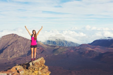 Photo for Young happy woman hiker with backpack standing on mountain peak with open arms - Royalty Free Image