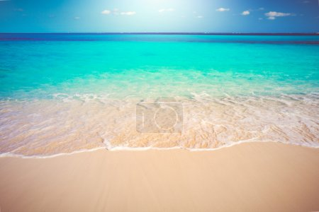 Photo pour Tropical White Sand Beach and Sea, Voyage vacances Concept Contexte - image libre de droit