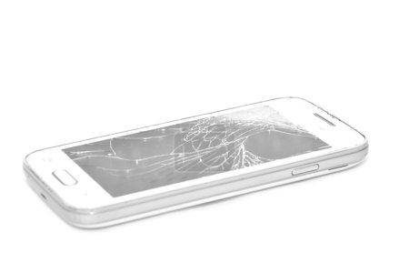 Cracked iPhone screen.