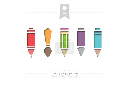set of stylish graphic design tools isolated on white background. vector material design icons. pencil, pen, paintbrush, marker and ink pen symbol. writing and painting concept banner