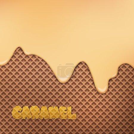 Illustration pour Crème caramel fluide sur motif gaufrette au chocolat. vecteur fond de dessert. gros plan conception d'aliments sucrés. décoration de menu de boulangerie avec glace goutte à goutte et biscuit au cacao - image libre de droit