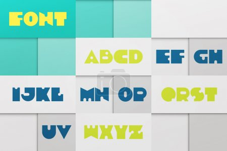 set of stylized, alphabet letters isolated on abstract background. vector contemporary, bold font type. retro character design. distinct logotype typesetting collection. material design poster