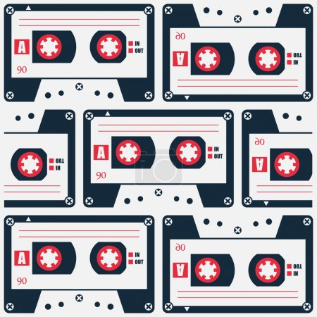 retro style cassette tape pattern. vector, 80s object symbol. 1980s music poster design. urban graffiti style wallpaper with analogue audio cassette