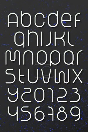 set of round style alphabet letters and numbers over dark background. vector font type design. modern, commercial lettering icons. stylized logo text typesetting. contemporary typography template