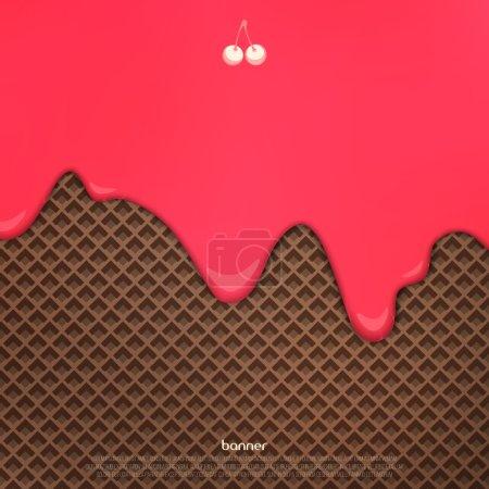 Illustration pour Crème cerise fluide sur motif gaufrette au chocolat. vecteur fond de dessert. gros plan conception d'aliments sucrés. décoration de menu de boulangerie avec glace goutte à goutte et biscuit au cacao - image libre de droit