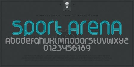 set of sport style alphabet letters and numbers isolated on paper background. vector, dynamic stylized font type design. running track concept typesetting. athletic sports competition typeface