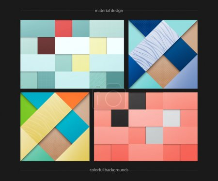 set of abstract, colorful backgrounds. vector geometric, fashion wallpaper templates. material design backdrops collection. origami style, vector, business cards layout